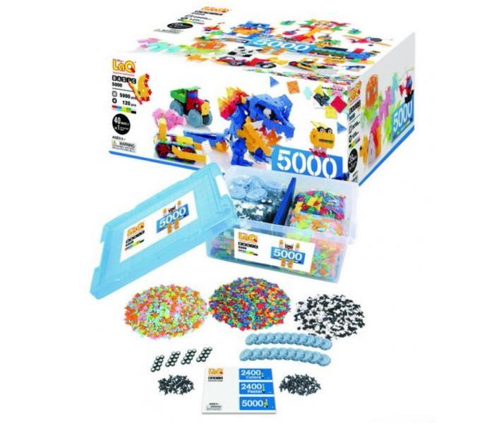 Конструктор LaQ  Basic (5000 деталей)Basic (5000 деталей)Конструктор LaQ Basic (5000 деталей) это безграничные возможности создания плоских и объемных моделей с помощью основных видов деталей и запатентованной системы соединений. Гибкие и прочные элементы выполнены из высококачественного нетоксичного пластика ярких цветов, они легко и надежно соединяются друг с другом, образуя устойчивые конструкции, поэтому с готовой игрушкой можно играть в свое удовольствие.   В наборе представлены фигуры квадрата и треугольника, пять видов соединительных креплений.   Время, проведенное в творчестве с конструктором LaQ – это не только время радости, творчества и вдохновения, но и время для развития полезных навыков ребенка, увлекательной подготовки к школе, развития мелкой моторики рук, выработки аккуратности, усидчивости, внимательности.  В наборе 5000 деталей.<br>