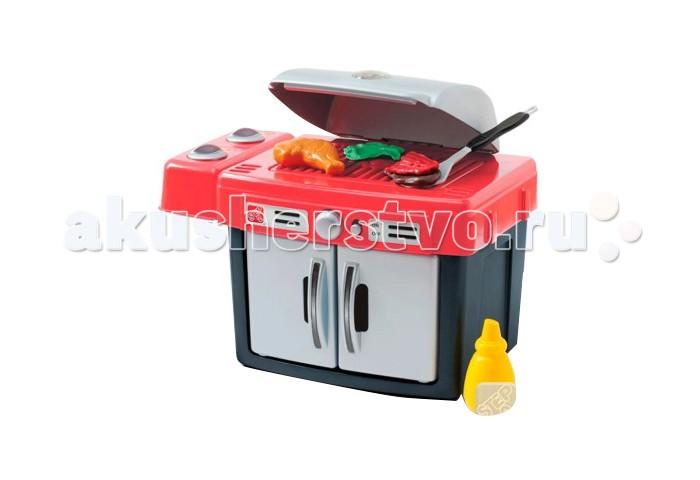 Step 2 Мой грильМой грильИгровой набор, в который можно играть в любом месте! Откройте крышку на гриле и начинайте переворачивать бургеры или курицу для мамы или папы!  Особенности: - для детей от 2-х лет - подсветка гриля, звуки приготовления пищи делают игру реалистичнее - все аксессуары для удобства можно хранить в духовке - требуется 2 AA батареи (входят в комплект поставки) - товар сертифицирован<br>