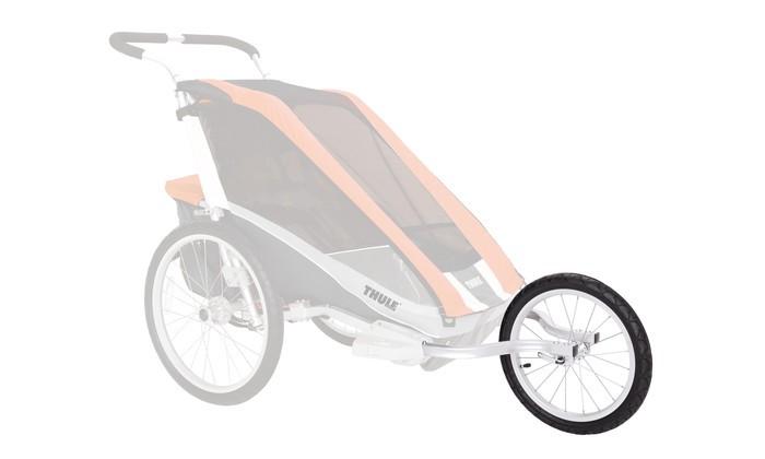 Thule Набор спортивной коляски Chariot 1 (для серии CX)Набор спортивной коляски Chariot 1 (для серии CX)Позволяет сделать из велоприцепа-коляски Thule CX 1 удобную коляску для бега.   Особенности Профессиональные шины Schwalbe Tracer для более быстрой езды Простая и удобная установка Стопорное колесо обеспечивает ровную езду В набор входят два кронштейна для бега с системой присоединения ezClick™ и два колеса диаметром 40 см<br>