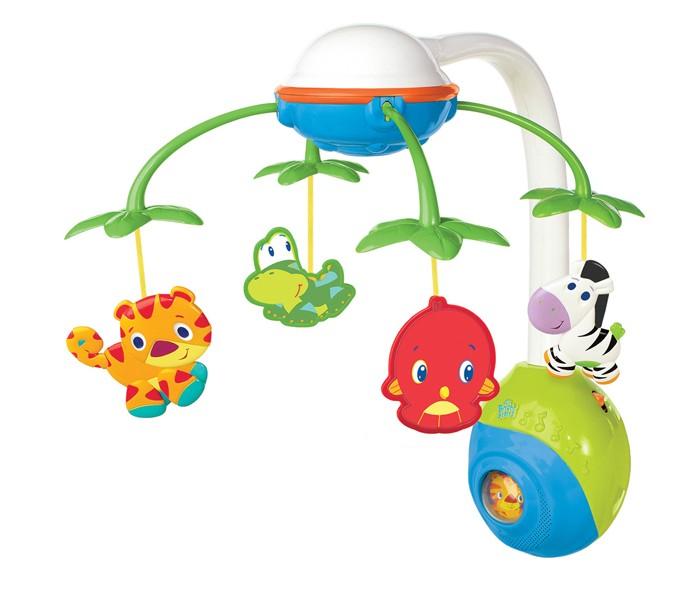 Мобиль Bright Starts Сафари 835Сафари 835Мобиль Bright Starts Сафари создаст приятную атмосферу для сна и бодрствования малыша. Спокойное движение подвесок и 5 приятных мелодий способствуют успокоению и убаюкиванию малыша.   Во время бодрствования малыш может наблюдать за кружащимися под музыку забавными игрушками и пробовать до них дотянуться, это стимулирует развитие зрительных навыков и навыков мелкой моторики. Когда малыш подрастет, база мобиля может использоваться, как музыкальная игрушка.  Особенности: Легко и удобно крепится на любую кроватку; Изготовлен из безопасных и нетоксичных материалов В комплекте 2 игрушки в виде милых персонажей и 4 вращающиеся подвески Подвесные игрушки выполнены из разных материалов - рельефная пластмасса, разнофактурная ткань Средний размер подвесных игрушек: 8 см 5 приятных мелодий, которые играют по 15 минут Переключатель музыки и движения карусельки<br>