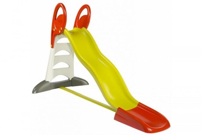 Горка Smoby XLXLГорка Smoby XL оснащена удобными и большими ручками Также к горке можно подключить шланг с водой и устроить настоящий водный аттракцион. Идеально подходит для игры на даче. Горка изготовлена из упрочненного пластика. С антиультрофиолетовым покрытием, поэтому не выгорает на солнце и морозоустойчива. Подходит как для игры на улице, так и в закрытом помещении.  Длина поверхности скольжения: 230 см<br>
