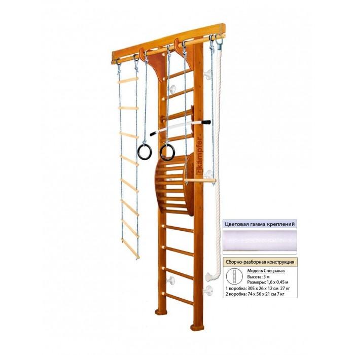Kampfer Домашний спортивный комплекс Wooden ladder Maxi WallДомашний спортивный комплекс Wooden ladder Maxi WallKampfer Домашний спортивный комплекс Wooden ladder Maxi Wall для улучшения осанки.  Правильная осанка - сделает Ваше тело красивым, формы фигуры приобретут гармонию походка станет привлекательной, обретет легкость и грациозность - достойные восхищения.  Особенности: Используются стойки из сосны  Используются ступени из березы Используется итальянское покрытие Coatings Italia S.p.a. Используется компактная разборная конструкция, которая позволяет перевозить его даже в легковом автомобиле  Модель Kampfer WWooden Ladder Maxi Ceiling включает в себя тренажер для спины Kampfer Posture (Wall). Тренажерный комплекс Kampfer Posture предназначен для занятий физическими упражнениями, позволяющими расслаблять, разминать и массировать мышцы спины в домашних условиях. Предназначен для улучшения осанки, поэтому в первую очередь необходимо привлечь к занятиям подростков, и даже маленьких детей. Им неприменно понравиться занятия на тренажере под Вашим руководством и присмотром. При помощи различных упражнений на нем Вы сможете укрепить мышцы спины и многие другие группы мышц. Регулярные занятия очень полезны для Вашего здоровья.  Подходит для детей в возрасте от 4 лет и рекомендован для установки в домашних условиях и в детских учреждениях. Конструкция была выполнена из натурального дерева, все края деталей немного скруглены, места креплений болтов закрыты декоративными пластиковыми заглушками обеспечивая большую безопасность для ребенка. Крепление: Турник и тренажер для спины могут устанавливаться на деревянную шведскую стенку на нужной высоте. Конструкция выполнена из натурального дерева, все края деталей немного скруглены обеспечивая большую безопасность для ребенка. Способ установки пристенный - крепится к стене. Универсальный и надежный вариант крепления. Можно использовать для помещений с подвесными и натяжными потолками. Не подходит при гипсокартонных стенах. Особе