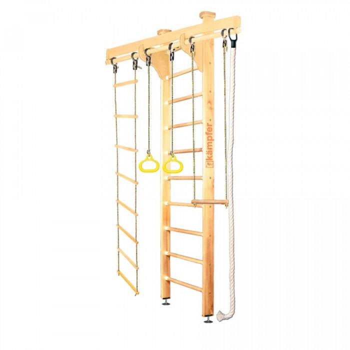 Kampfer Домашний спортивный комплекс Wooden Ladder CeilingДомашний спортивный комплекс Wooden Ladder CeilingKampfer Домашний спортивный комплекс Wooden Ladder Ceiling   Особенности: Используются стойки из сосны  Используются ступени из березы Используется итальянское покрытие Coatings Italia S.p.a. Используется компактная разборная конструкция, которая позволяет перевозить его даже в легковом автомобиле  Конструкция выполнена из натурального дерева, все края деталей немного скруглены обеспечивая большую безопасность для ребенка. Крепление враспор между потолком и полом удобно тем, что подходит для любых стен, и комплекс можно передвигать с места на место. Но потолок не должен быть из хрупких материалов, таких как гипсокартон (навесные) и вагонка, для них лучше подойдут пристенные модели.   Комплектация: шведская стенка  канат  кольца  верёвочная лестница трапеция  Высота шведской стенки: 2,71 м Длина шведской стенки: 64 см Ширина стойки лестницы : 10 см Длина перекладины для навесного оборудования: 1,60 м Размер выступа от стены: 45 см Допустимая нагрузка: 120 кг<br>