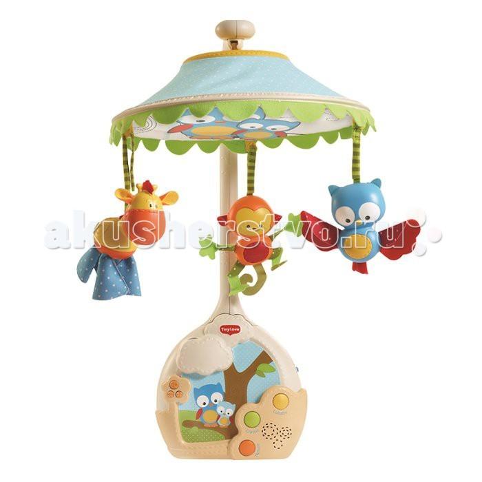 Мобиль Tiny Love Волшебная лампаВолшебная лампаВолшебная лампа - самый современный мобиль с проектором от Tiny Love. Игрушка «растет» вместе с малышом, приспосабливаясь к разным стадиям его развития.   Это и завораживающий проектор, и очаровательные игрушки-зверюшки, которые будут развлекать малютку днем и убаюкивать ночью. Широкий выбор музыки: 3 категории, 9 умиротворяющих мелодий, 30 минут непрерывной музыки! Сказочные впечатления от рождения и до ясельного возраста!   Три стадии для разных возрастов в одном изделии:  1) 0-5 месяцев: музыкальный мобиль с опциональным куполом-проектором 2) 5-18 месяцев: проигрыватель на кроватку с проектором на потолок 3) 18+ месяцев: очаровательный звездный ночник с музыкой  Особенности: проецирование изображения на купол (для самых маленьких) превращение в музыкальный центр с проецированием изображения на потолок – для малышей постарше превращение в ночник с эффектом звездной ночи для малышей ясельного возраста до 30 минут непрерывной музыки 3 категории, 9 мелодий кнопка выбора режима регулировка громкости кнопка отключения звука  Особенности: 0-5 месяцев: дайте младенцу насладиться мобилем «Волшебная лампа» во всей красе, с проецированием изображений на купол (опционально)  5-12 месяцев: придайте мобилю форму музыкального центра с проецированием изображений на потолок  12-24 месяца: пусть малыш блаженствует, созерцая ночное звездное небо и слушая упоительные мелодии   Вес: 1,6 кг. Размер упаковки: 41х12х35 см<br>