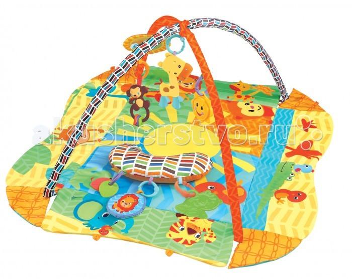 Развивающий коврик FunKids 3 Ways To Play Delux 272913 Ways To Play Delux 27291FunKids Развивающий игровой коврик для новорожденного 3 Ways To Play Delux 27291  На коврике ваш малыш откроет для себя мир, полный новых тактильных ощущений, сочных красок, ярких образов и звуков! Можно лежать на спине, ползать на животе, толкаться ногами, сидеть и развиваться в компании веселых друзей.  Две игровых дуги с мягкими съемными игрушками и безопасным зеркалом Для удобства малыша к коврику можно закрепить подушечку Бортики коврика можно поднять и закрепить для большего чувства безопасности  Размеры коврика 3 Ways To Play с закрепленными бортиками / в разложенном состоянии: Длина - 75 см / 105 см Ширина - 55 см / 91 см Высота игровой дуги - 52 см<br>