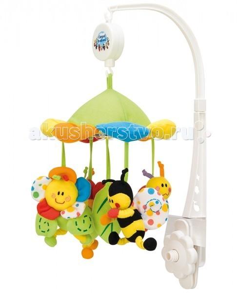 Мобиль Canpol Музыкальная карусель Colourful meadow 2/984Музыкальная карусель Colourful meadow 2/984Музыкальная игрушка-карусель от компании Canpol Babies предназначена для того, чтобы ребенок впервые месяцы своей жизни научился концентрироваться на предмете, находящемся в поле его зрения, или на каком- либо звуке, который он слышит.  Музыкальная игрушка карусель сделана в виде яркой гирлянды мягких игрушек, которая легко крепиться на детскую кроватку. Красочные, мягкие плюшевые игрушки привлекают внимание ребенка, и развивают его зрение и координацию движений.  Малыши растут и тянутся ручонками к желаемой вещи, чтобы потрогать её и ощутить всю приятность осязания.  Приятная мелодия музыкальной шкатулки успокаивает ребенка и помогает ему заснуть. Для этого необходимо завести механизм и польются прекрасные и мелодичные звуки.  Вы можете отсоединить любимые фигурки и дать их малышу, ребенку будет интересно перебирать их, что в свою очередь будет развивать чувствительность и моторику его маленьких пальчиков.<br>