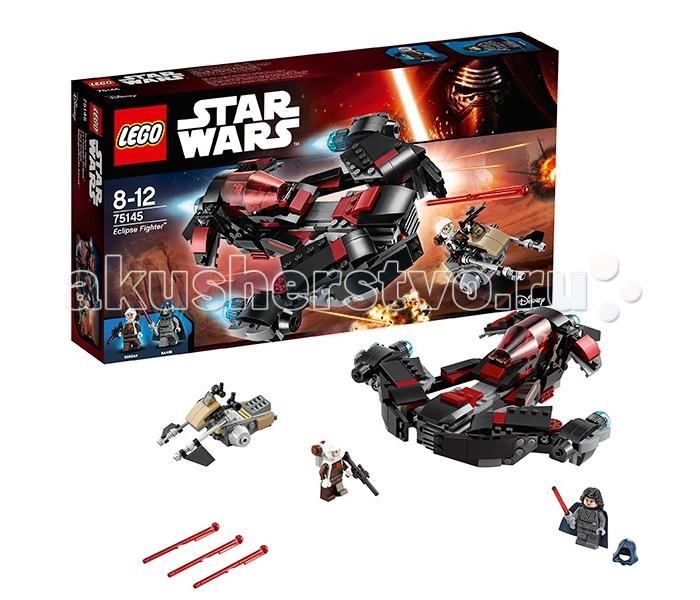 Конструктор Lego Star Wars 75145 Лего Звездные Войны Истребитель ЗатменияStar Wars 75145 Лего Звездные Войны Истребитель ЗатменияLego Star Wars 75145 Лего Звездные Войны Истребитель Затмения 363 деталей  Беглый рыцарь-джедай Наари, искусный и таинственный пилот воина затмения, преследует одного из лучших охотников за головами вселенной Звездные войны — Денгара.  Истребитель собирается из деталей серого, черного и красных цветов и выглядит очень агрессивно. Благодаря использованию деталей из серии Lego Technic передние консоли с двигателями и бронелистами могут изменять угол атаки. За ними в носовой части истребителя расположены два пружинных шутера. Кокпит корабля закрывается откидывающимся прозрачным стеклом, внутри которого располагается Наари, вооруженная световым мечом.  Денгар, вооруженный бластером, убегает от неё на скоростном спидере. Небольшие размеры, высокая скорость и маневренность позволяют ему успешно избегать огня корабля Наари.  2 минифигурки — Денгар и Наари Пружинные шутеры Открывающаяся кабина истребителя Носовая часть может изменять угол атаки.  Количество деталей: 363 Возраст: 8-12 лет<br>