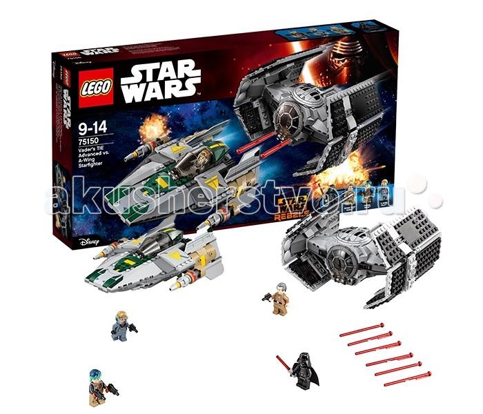 Конструктор Lego Star Wars 75150 Лего Звездные Войны Усовершенствованный истребитель СИД Дарта ВейдераStar Wars 75150 Лего Звездные Войны Усовершенствованный истребитель СИД Дарта ВейдераLego Star Wars 75150 Лего Звездные Войны Усовершенствованный истребитель СИД Дарта Вейдера 702 деталей  Сюжет основан на мультфильме Звездные войны: повстанцы. Дарт Вейдер, военачальник империи, ситх и просто очень нехороший человек преследует повстанческий истребитель A-wing, пилотируя усовершенствованный Tie-Fighter. Кто из пилотов лучше управляет своей машиной, у кого больше выдержки и бесстрашия — набор открывает практически безграничные возможности для игры. Оба истребителя вооружены пружинными шутерами и лазерными пушками.  Также в набор входят минифигурки оружейного эксперта Сабины Врен в её уникальной броне и Гранд-моффа Таркина — губернатора систем Внешнего Кольца и члена команды станции «Звезда Смерти».  4 минифигурки: Дарт Вейдер, Сабина Врен, Гранд-мофф Таркин и пилот А-винга Истребители вооружены пружинными шутерами Фигурки можно разместить в кабинах У A-Winga крылышки меняют угол наклона  Количество деталей: 702 Возраст: 9-14 лет<br>