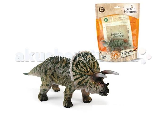 Игровые фигурки Geoworld Фигурка динозавра Jurassic Hunters - Трицератопс конструкторы geoworld сборная модель динозавра в яйце jurassic eggs стигимолох n14 деталей