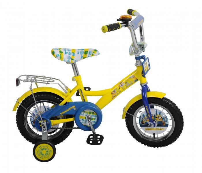Велосипед двухколесный Navigator Миньоны 12Миньоны 12Велосипед двухколесный Navigator Миньоны, подарит радость вашему ребенку.   Особенности:  Широкие страховочные колёса с декоративной вставкой Oдносоставной шатун Багажник Вставки в колесах Звонок Мягкая накладка на руле, именная табличка на руле.<br>