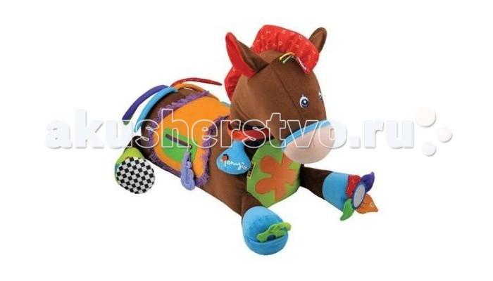 Игровой центр KS Kids Пони ТониПони ТониРазвивающий центр лошадка Пони Тони K`s Kids - это та игрушка, с которой малышу никогда не будет скучно. Забавный веселый зверек выполнен в ярких тонах, содержит в себе более 20 развивающих элементов, сделанных из разнофактурных материалов.   Особенности:   шелестящие элементы в ушках, брелке на ошейнике, рожках, цветочках  на ошейнике есть колечко-погремушка  трещётка в цветочке на лапке  замочек-прорезыватель  большая пуговица  хвост-ленточки  замок-молния  наличие нитяных элементов  безопасное зеркальце  цифры на цветочке  богатое цветовое оформление<br>