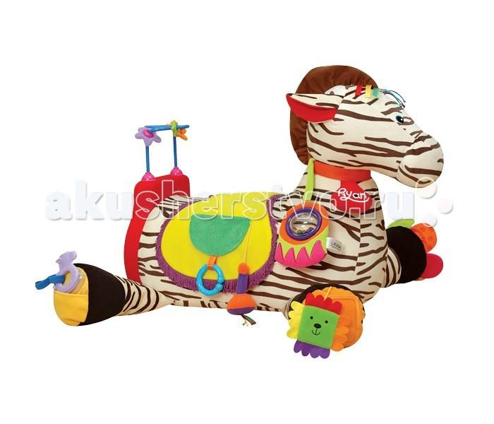 Игровой центр KS Kids ЗебраЗебраИгрушка Зебра K`s Kids не просто игрушка, а целый развивающий центр для развития ребенка.    Особенности:    Благодаря размерам игрушки ребенок может на ней сидеть.  Игрушка на долгое время завлечет ребенка и не даст ему скучать.   По всей поверхности игрушки расположены 28 активных элементов, среди которых есть погремушки, шуршалки, трещалки, аппликации, безопасное зеркальце и кармашек для установки фотографию Вашего малыша.   Играя игрушкой ребенок будет всесторонне развиваться.<br>