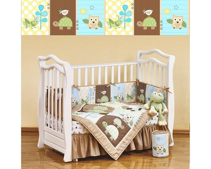 Комплект в кроватку Giovanni Shapito Froggy Friends (7 предметов)Shapito Froggy Friends (7 предметов)Shapito Froggy Friends (7 предметов)  Комплект для детской кроватки из 7 предметов. Одеяло-покрывало декорировано вышивкой и тканевыми аппликациями.  Бампер состоит из 4-х частей, что позволяет использовать его как по всему периметру кроватки в варианте для младенца, так и в варианте диванчика для подросшего малыша, чехлы не съемные.  Простыня на резинке надежно закрепляется на матрасе и не позволяет складкам воздействовать на кожу ребенка  Юбка придает изысканный внешний вид детской кроватке.  Габаритные размеры Простыня натяжная на резинке: 120x60 см Бампер: 120x25 см - 2 штуки Бампер: 60x25 см - 2 штуки Одеяло - покрывало с аппликацией: 107x84 см Юбка декоративная: по периметру, высота 23 см.<br>