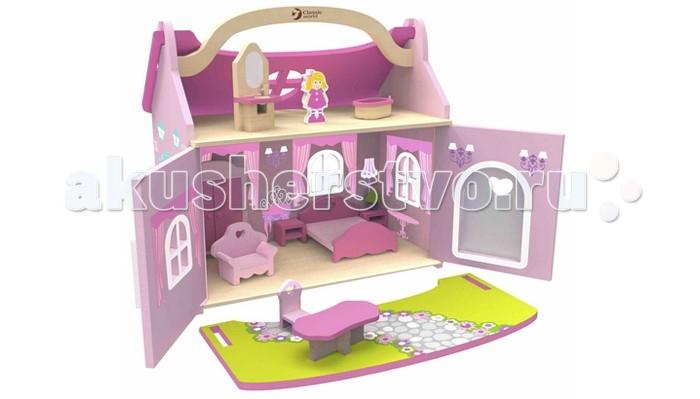 Classic World Домик маленькой принцессыДомик маленькой принцессыДомик маленькой принцессы это деревянный домик-чемодан с мебелью и куклой.  Дворец маленькой принцессы, с удобной ручкой для переноса и съемной крышей, в котором имеются десять предметов интерьера, таких как  шкаф, кровать, 2 тумбочки и лампа, кресло, стол и стул, зеркало с раковиной и ванна, подходит для кукол и фигурок животных до 15 см.  Домик изготовлен из экологически чистого дерева с использованием красок, безопасных для здоровья ребенка.<br>