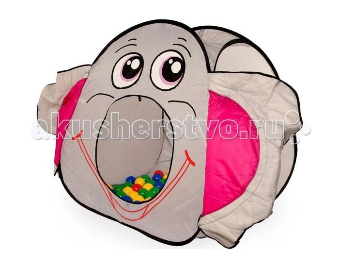 Bony Игровой домик с тоннелем с шариками СлонИгровой домик с тоннелем с шариками СлонКрасочные и интересные игровые домики для детей — это лучшее решение родителей, чтобы ребенок мог активно играть с пользой для здоровья!  Домики очень компактные, легкие и их легко брать с собой, например, на дачу или на природу.  В комплекте 100 разноцветных шариков, играя которыми, малыши развивают ловкость и моторику рук.   Палатка имеет окошки из сетки. Специальная дверка закрепляется на липучках. Достаточно высокий порог не позволит выкатываться шарикам.  Размеры: домик - 100 x 100 x 100 cм.<br>