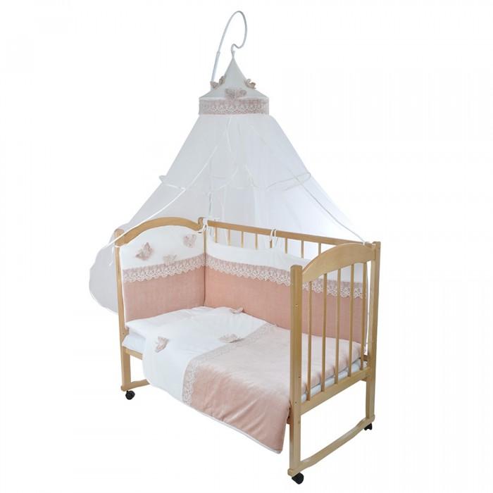 Комплект в кроватку GulSara 320 (7 предметов)320 (7 предметов)Комплект постельного белья 320 (7 предметов) включает все необходимые элементы для детской кроватки.  Кроватка Вашего малыша будет неотразимой и очень уютной. Ведь в комплект входит все необходимое для крепкого и безопасного сна малыша.  Комплект сшит из 100% натуральных материалов с соблюдением высоких стандартов качества.   Характеристики:  Материал: велюр, трикотаж, вуаль. Отделка: вышивка, кружево. Наполнитель: холофайбер (борта, подушка, одеяло).  Комплектность: комплект раздельных бортов 360х40х55 см подушка 40х60 см одеяло-плед 100х120 см держатель для балдахина круглый простынь 100x140 см наволочка 40x60 см балдахин 160х400 см<br>