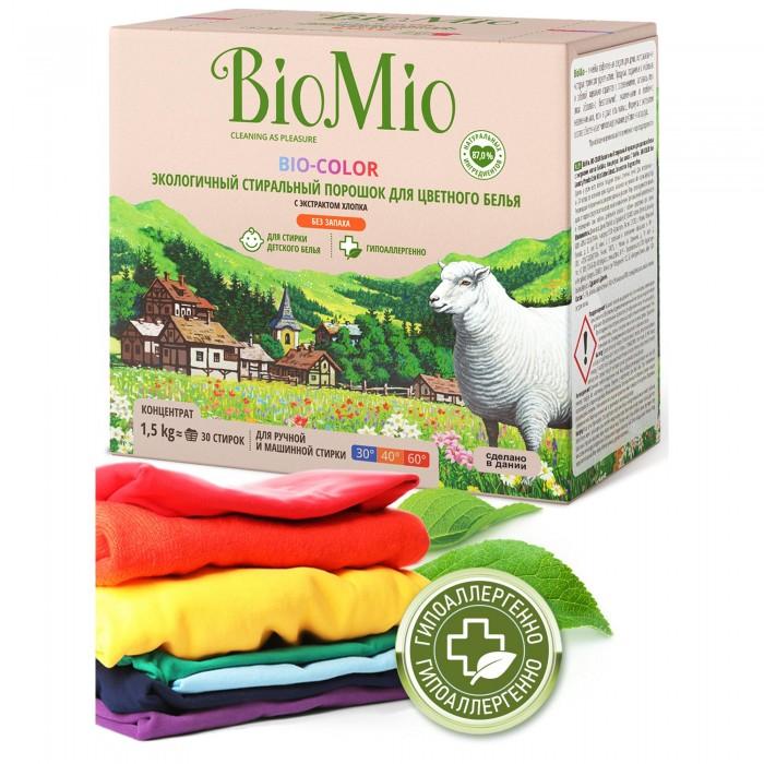 Детские моющие средства BioMio Bio-Color Экологичный стиральный порошок для цветного белья без запаха 1500 г