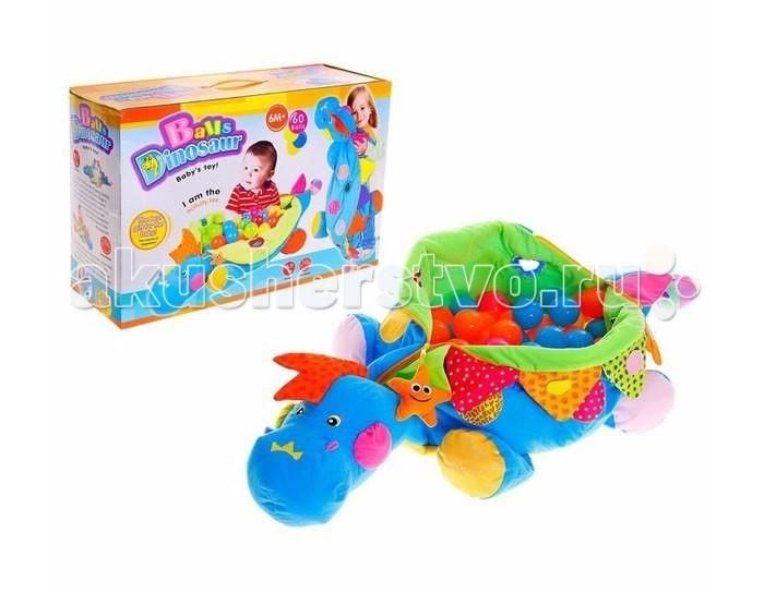 Развивающая игрушка Tinbo Toys Малыш Динозаврик 60 шаровМалыш Динозаврик 60 шаровРазвивающая игрушка Tinbo Toys Малыш Динозаврик 60 шаров представляет собой большой мешок, в который помещаются 60 пластмассовых шариков. Несмотря на не очень сложный принцип исполнения, производитель сделал игрушку, с которой можно придумать множество забав.   Динозаврик может служить просто напольной подушкой, когда шарики внутри. На нем можно сидеть верхом. Можно попросить малыша побросать шарики из динозаврика, а потом собрать их обратно, но сначала одного цвета, потом другого и так далее.  По всему динозавру нашиты элементы из материалов различной фактуры: мягкие, жесткие, зеркальные, в виде небольших игрушек. Тактильные ощущения от игры с такой игрушкой помогают малышу познакомиться с окружающим миром.  Характеристики: развивающая игрушка Малыш динозавтрик + 60 шаров развивает визуальное восприятие, логику, мышление, мелкую моторику рук. Размер упаковки: 58х38х20 см<br>