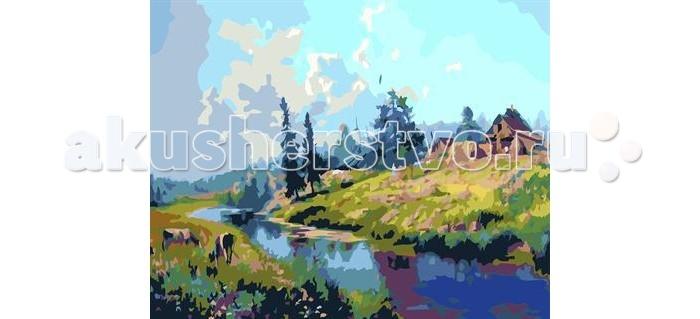 Картины по номерам Molly Картина по номерам Дом на берегу реки  картина по номерам цветной тм gx7844