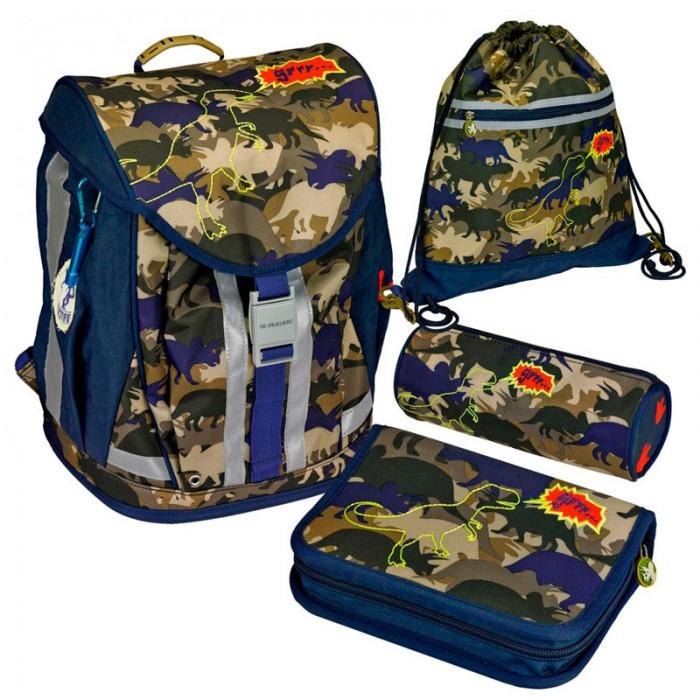 Spiegelburg Школьный рюкзак T-Rex Flex Style с наполнением 11869Школьный рюкзак T-Rex Flex Style с наполнением 11869Ортопедический школьный рюкзак с наполнением  T-Rex Flex Style предназначен для учеников начальной школы 1 - 4 класс. Внутренние отделения с несколькими карманами, удобная крышка с надежным замком, принадлежности для учебы  выполненные в едином стиле с ранцем, устойчивое пластиковое дно, ручка для переноски за которую рюкзак можно повесить на крючок, ортопедическая спинка и регулируемые лямки - удобство и комфорт школьных принадлежностей от Spiegelburg. Очень лёгкий, вместительный, устойчивый, из прочной водостойкой ткани. На внешней стороне  размещены светоотражающие элементы!  Немецкие ранцы и рюкзаки с ортопедической спинкой Spiegelburg соответствуют требованиям и стандартам TUV Rheinland, DIN.  В комплекте:   Пенал с наполнением Lyra Osiris; Пенал без наполнения; Мешок для обуви; Брелок; Дорожная книга для детей; Расписание занятий;  Прозрачный силиконовый чехол для пропуска на карабине.  Особенности:  Размер: 38 x 37 x 23 см Объем: 18 л Вес: 2,060 г<br>