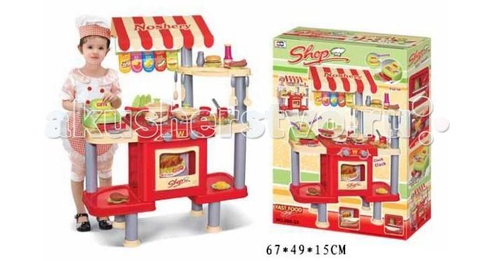 Shantou Gepai Набор Кафе с кассой, продуктами и посудой, свет, звукНабор Кафе с кассой, продуктами и посудой, свет, звукРостовой набор Кафе с кассой, продуктами и посудой станет замечательным подарком. Если к вам в дом нагрянут маленькие гости, им будет чем заняться! Ведь этот набор идеально подойдет для сюжетно-ролевой игры в кафе. Игрушка представляет собой конструкцию со столешницей, на которой расположена плита с духовкой, сборку приделаны полочки для посуды и продуктов, также стойка оборудована кассовым аппаратом.   Повар готовит еду, кассир принимает оплату у покупателей и т.д.   Игрушка со световыми и звуковыми эффектами, работает от батареек.  Комплектность: столик, касса, продукты, посуда.<br>