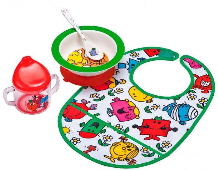 Petit Jour Набор детской посуды Monsieur Madame с нагрудникомНабор детской посуды Monsieur Madame с нагрудникомPetit Jour Набор детской посуды Monsieur Madame с нагрудником в подарочной упаковке. Ваш малыш будет кушать с удовольствием!   Особенности: набор изготовлен из гипоаллергенного материала 0% фталатов и BPA (бифенол А) на дне тарелки есть веселый рисунок, для того, чтобы ее разглядеть, нужно опустошить тарелку тарелка с нескользящим дном и широкими краями, что обеспечивает ее устойчивость и непроливание пищи глубокая ложечка удобная ручка у ложки идеальна для самостоятельного питания поильник-непроливайка с двумя ручками тарелку и приборы можно мыть в посудомоечной машине  не подходит для использования в микроволновой печи и для горячих напитков  В комплекте: тарелка, глубокая тарелка, ложка, поильник, нагрудник Размер: ложка 14 см, поильник 11X10 см, тарелка 16 см<br>