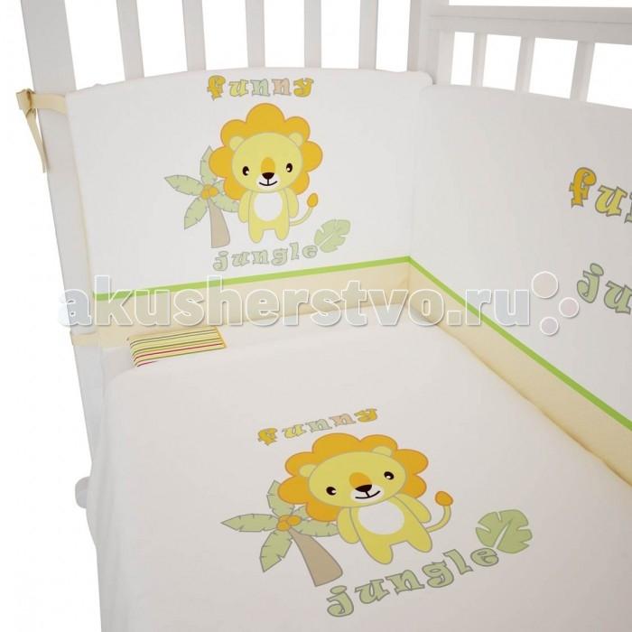 Постельное белье Polini Джунгли (3 предмета) 140х70 постельное белье fairy жирафик 140х70 3 предмета