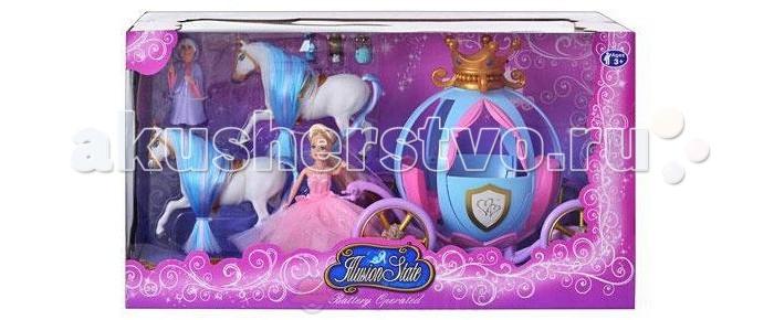 Shantou Gepai Игровой набор Карета с 2 лошадьми принцессой и волшебницейИгровой набор Карета с 2 лошадьми принцессой и волшебницейShantou Gepai Игровой набор Карета с 2 лошадьми принцессой и волшебницей  Карета - игровой набор для девочек.  Карета запряжена двумя лошадьми, во время езды у кареты светятся колеса.  Игрушка работает от 2 батареек АА (в комплект не входят).  Комплект: карета две куклы (Золушка в бальном платье и Фея-крестная)  три фигурки пажей-крыс две лошадки.<br>