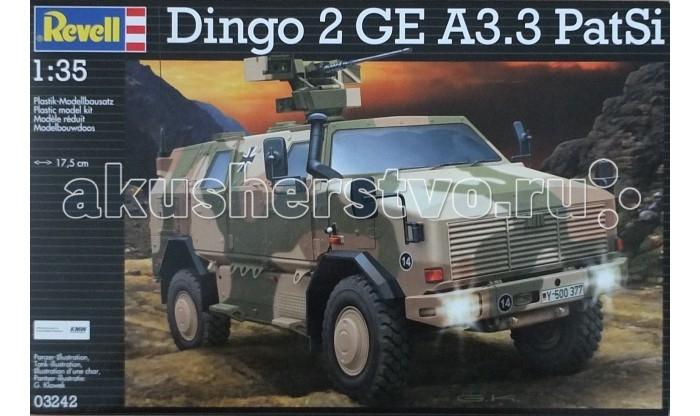 Конструктор Revell Броневик ATF Dingo 2 A3.3 PatSiБроневик ATF Dingo 2 A3.3 PatSiМодель немецкого броневика Dingo 2 GE A3.3 PatSi выполнена из пластика в масштабе 1:35. Для сборки понадобится клей и краска для покраски. Эти аксессуары приобретаются отдельно и в комплект не входят. Данная модификация Dingo 2 использовалась Бундесвером в Афганистане с 2012 года для разведки и безопасного перемещения. Броневик имеют повышенную защиту от мин. Вместимость машины – 6 человек. Модификация A3.3 PatSi оснащалась пулеметом FLW 200 и автоматическим гранатометом 40 мм. Кроме того на машину установлены более совершенные приборы ночного видения.  Внимание! Клей и краски в комплект не входят.  Особенности:   Длина собранной модели: 17,5 см  Количество деталей: 238 шт.<br>
