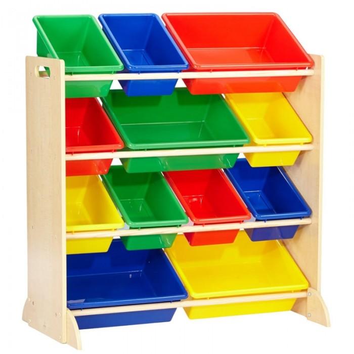 Ящики для игрушек KidKraft Система для хранения с 12 контейнерами kidkraft кукольный стульчик для кормления куклы kidkraft