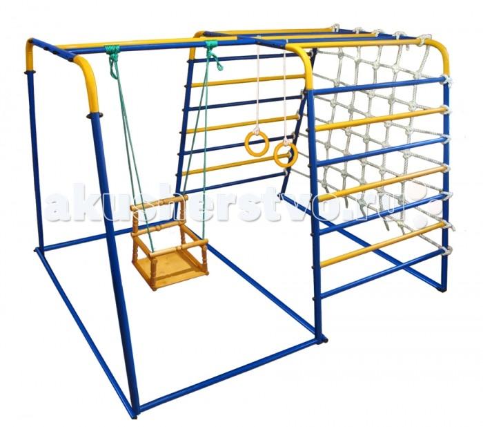 Midzumi Детский спортивный комплекс ToppaДетский спортивный комплекс ToppaДетский спортивный комплекс Midzumi Toppa. Этот спортивный комплекс показывает разнообразие модельного ряда продукции Midzumi. Прочная металлическая конструкция позволяет выдерживать до 100 кг.   Midzumi Toppa состоит из двух шведских стенок соединенных между собой горизонтальными балками и канатной сеткой. Всего у комплекса 2 широких металлических лестницы, а значит в два раза больше приключений. Лестницы соединены рукоходом. На дополнительных стойках крепятся качели. Канатная сетка расширяет место для увлекательных приключений. Дети очень увлекаются игрой на шведской стенке, особенно интересно когда есть возможность перепрыгивать с одного снаряда на другой, для этого в комплексе предусмотрены гимнастические кольца. Небольшая высота комплекса позволяет использовать его детям самых младших возрастов.   В ДСК Midzumi Toppa есть все необходимое для выполнения различных общеразвивающих и укрепляющих упражнений в домашних условиях. Toppa можно использовать как для развлечений, так и для занятий спортом. Торговый Дом Midzumi включает в свои комплексы все Ваши интересы. Среди богатого разнообразия детских спортивных комплексов, каждый найдет то, что интересно именно ему.  Комплектация: основа - металлическая шведская стенка П-образной формы гимнастические кольца качели канатный лаз  Характеристики: Спортивный комплекс представляет собой сборно-разборную конструкцию из металла В собранном виде комплекс занимает площадь: 1.5х2 кв.м Высота: 1.33 м Расстояние между ступеньками: 15.5 см Масса комплекса не более 35 кг. Максимальная нагрузка на комплекс: до 100 кг.<br>