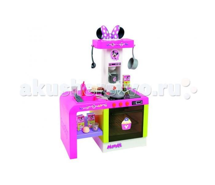 Smoby Кухня Cheftronic MinnieКухня Cheftronic MinnieSmoby Кухня Cheftronic Minnie - это компактная кухня в дизайне любимой всеми мышки Миннимаус, кухня со многими электронными функциями. Все как в настоящей кухне - мойка с краном (без воды), духовой шкаф с подсветкой, варочная панель (звуки шипения и варения), кофеварка с реалистичными звуками, полочки для размещения продуктов.   Особенности: предназначена для детей от 2-3-х лет и старше соответствует европейским стандартам безопасности оригинальный дизайн конструкция очень устойчивая не требует дополнительных креплений идеально подходит для игры на даче, дома компактная кухня с многими электронными функциями благодаря своим эргономичным размерам, она нуждается в минимальном пространстве для размещения в детской все тут как в настоящей кухне - мойка с краном (без воды), духовой шкаф с подсветкой, варочная панель (звуки шипения и варения), кофеварка с реалистичными звуками, полочки для размещения продуктов ваш ребенок почуствует себя настоящим поваром на куне требуются атарейки: 3*АА/LR6, не входят в комплект  В комплекте: тарелки  ложки вилки ножи чашка половник кастрюльки коробочки с полуфабрикатами продукты<br>