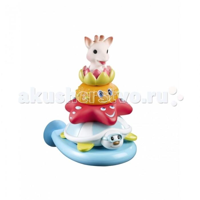 Vulli Игрушка для ванной ПирамидкаИгрушка для ванной ПирамидкаПирамидка Жирафик Софи и друзья принесет море радости малышу во время купания.   В набор входит 4 фигурки веселых животных и специальная подставка, которая с легкостью крепится при помощи присоски на ванну.  Малышу обязательно понравится придумывать различные игры с новыми друзьями, выстраивать из них пирамидку.   Специальная форма животных разработана таким образом, чтобы тренировать у ребенка моторику, учить его пространственному мышлению, изучать формы предметов, а также тренировать логические способности.   Изготовлено из абсолютно безопасных для ребенка материалов.<br>
