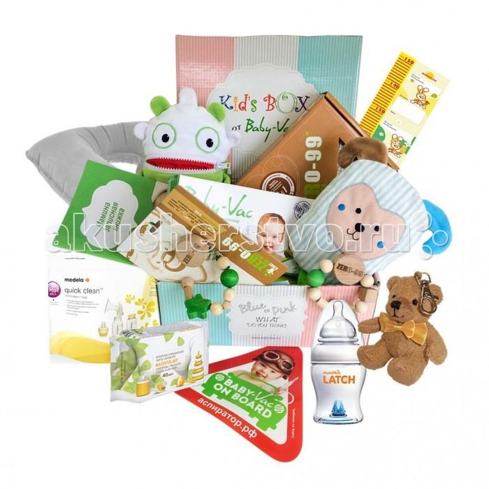 """Kid's Box Набор для мальчика 0-3 летНабор для мальчика 0-3 летНабор для мальчика 0-3 лет Kids Box  «Kid's Box» это целая коробка необходимых и инновационных товаров для малыша, собранная экспертами рынка детских товаров.  Как часто Вы сталкивались с проблемой выбора подарка новорожденному?  Что подарить крестнику, ребенку друзей, коллег или родственников? Что выбрать, чтобы подарок порадовал малыша и родителей, был красивым и одновременно полезным?  Знакомьтесь!  Kids- Box для малышей 0-3 лет  Kids Box - это красивый набор на рождение малыша, крестнику, ребенку друзей, коллег или родственников,  Kids Box - это только самые качественные и нужные товары для малыша, baby must have.   В составе набора реальные товары, бестселлеры категорий: аспиратор  назальный Baby-Vac грелочка с вишневыми  косточками ZerO-99 ЭКО держатель для соски-пустышки ZerO-99 ЭКО погремушка-прорезыватель ZerO-99, игрушка Baby-Vaшка - поедатель детских страхов, разработанная европейскими психологами набор стикеров для фото """"Первые важные события"""" стикер на авто """"Безопасность на дороге"""" мамина записная книжка и небольшой сюрприз для мамы и малыша  Kids Box представлена в  двух  вариантах для милой  девчушки  и маленького  джентельмена.  Родители обязательно оценят такой знак внимания, он надолго останется в памяти!<br>"""