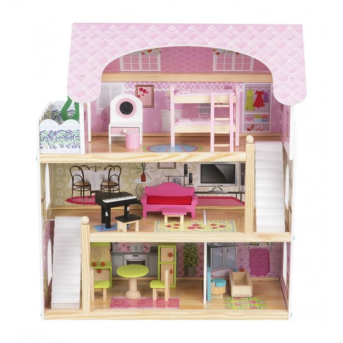 Edufun Кукольный дом с мебелью EF4110Кукольный дом с мебелью EF4110Edufan Кукольный дом с мебелью EF4110 предназначен для девочек от трех лет. Он создан из комбинированного материала, полностью безопасного для ребенка. Благодаря наличию множества комнат, дополнительных аксессуаров, игрушка станет функциональным дополнением для развивающих и ролевых игр.  Особенности: Домик имеет три этажа. На первом расположена кухня и ванная. Второй – занимает гостиная, а третий – спальня и небольшой балкончик. Игрушка выполнена в реалистичной манере. Тщательно проработана каждая деталь. В кухне установлены стол, стулья, шкафчик. Ванная комната оснащена сантехникой.  В гостиной есть пианино, несколько стульев, компактный диванчик.  В спальне расположена двухъярусная кровать с мягким матрасиком, туалетный столик. Для поднятия или спуска на этажи есть лестница, выполненная в белом цвете. Все детали тщательно обточены, они не имеют острых углов и зазубрин. Это гарантирует ребенку полную безопасность. Для домика подходят куколки размером 12 см<br>