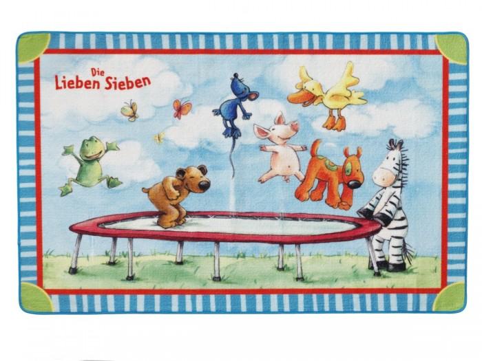Boing Carpet Ковёр Die Lieben Sieben 201-0120Ковёр Die Lieben Sieben 201-0120Spiegelburg Ковёр Die Lieben Sieben 201-0120. Симпатичный ковер со скругленными углами украсит детскую комнату и станет уютным пространством для игр. Рисунок с забавными зверушками, прыгающими на батуте, заинтересует и развлечет малыша.  Ковер изготовлен иглонабивным методом из высококачественной акриловой пряжи. Ворс плотный и мягкий высотой 10 мм.В волокнах содержится хитозан – уникальное вещество натурального происхождения, которое обладает антибактериальной активностью и нейтрализует запахи, вследствие чего изделия не вызывают аллергических реакций и не вредят здоровью малышей.  По этому мягкому и тёплому ковру очень приятно ходить босыми ножками. Положите его возле детской кроватки, комода или шкафа с одеждой, а также в ванной комнате, чтобы Ваш ребёнок не стоял на холодном полу и не простужался.<br>