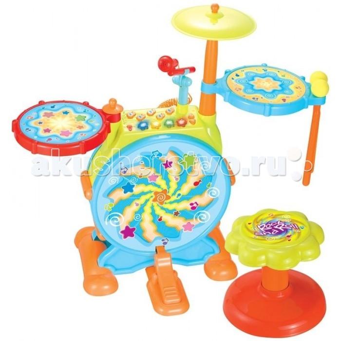 Музыкальная игрушка Huile Toys Музыкальный центр с барабанной установкойМузыкальный центр с барабанной установкойHuile toys Игрушка Музыкальный центр с барабанной установкой Y61142  Такая барабанная установка даст маленькому музыканту широкое поле для импровизаций и возможно даже вдохновит его на дальнейшей развитие в музыке. В этой игрушке предусмотрены кнопки, запускающие проигрывание различных звуковых эффектов, две цимбалы для игры палочками и большой барабан с педалью. Для вокальных упражнений имеется микрофон на небольшой регулируемой стойке. Ну и маленькая, но приятная для родителей деталь - громкость звука игрушки регулируется.  Тип батареек: 3 x AA / LR16 1.5V (пальчиковые). Не входят в комплект.  Размер игрушки: 61.5 х 64.5 х 31.5 см.<br>