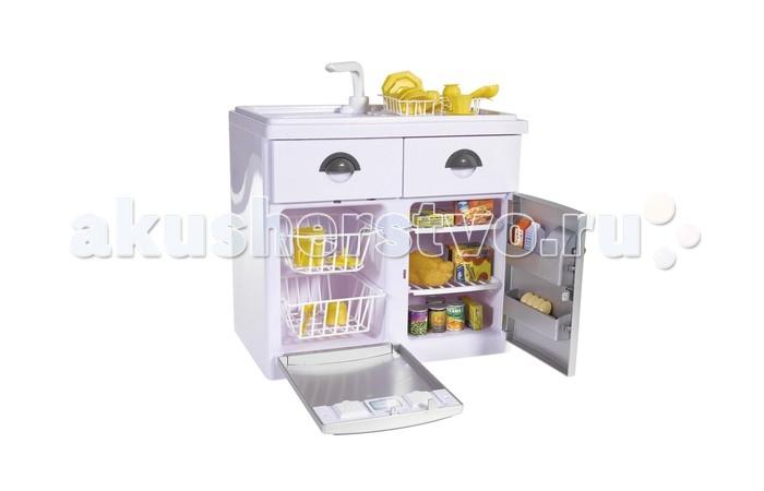 Casdon  Игровой набор с холодильникомИгровой набор с холодильникомCasdon Игровой набор с холодильником  На посудомоечной машине и холодильнике имеются кнопочки включения, при нажатии которых раздаются забавные звуки, похожие на работу настоящей бытовой техники  А если малыш нажмёт на краник, то услышит шум воды  Имеется сушилка для посуды  Ящички выдвигаются, и в них можно поместить чистую и высушенную посуду  Компактный холодильник с удобными полочками поможет сохранить все продукты свежими   В комплекте: мойка холодильник посудомоечная машина сушилка для посуды набор посуды  имитационные продукты  Работает: от 2 батареек типа AA (не входят в комплект) Возраст: от 3 лет<br>