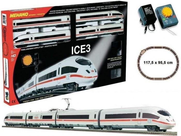 Mehano Железная дорога ICE 3 (Сапсан)Железная дорога ICE 3 (Сапсан)Mehano Железная дорога ICE 3 (Сапсан)  - это копия знаменитого германского скоростного состава ICE3, выполненная в миниатюре.  Обтекаемые линии, белоснежный цвет в сочетании с тонкой алой полосой, быстрое движение поезда делают его похожим на механическую птицу, которая летит по рельсам, будто не касаясь их. Это стремительное изящество вписано в рамки рельсового овала, но при желании железнодорожное полотно можно увеличить, ведь все элементы железных дорог «MEHANO» совместимы друг с другом. Рельсы металлические, колеса паровозов из металла.   Особенности: масштаб 1:87;  работает от электрической сети через адаптер – 220 вольт;  максимальная скорость – 6 км/ч, возможность изменения скорости движения;  размер собранного железнодорожного полотна: 117,5 см х 95,5 см;  ширина колеи: 16,5 мм;  все элементы комплекта совместимы с другими сборными моделями железной дороги «MEHANO», так что юный машинист сможет прокладывать различные маршруты, строить новые станции и придумывать неповторимый, свой собственный уникальный ландшафт.   В комплекте:  1 ведущий локомотив ICE3 1 ведомый локомотив ICE3 1 вагон первого класса 1 вагон второго класса;  3,35 метров железнодорожного полотна: 11 радиальных рельс; 1 радиальный рельс/контактный; 2 прямые рельсы;  1 сетевой адаптер;  1 пульт-контроллер;  15 клипс/соединителей;  подробная инструкциями по сборке и управлению (с иллюстрациями)<br>