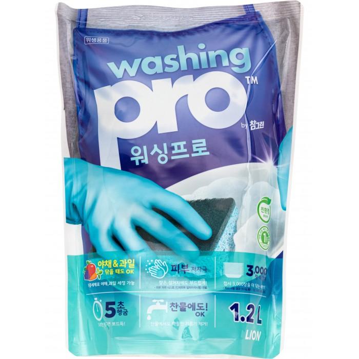 Бытовая химия CJ Lion Средство для мытья посуды Washing Pro 1200 мл жидкость для мытья посуды aos лимон 1 л