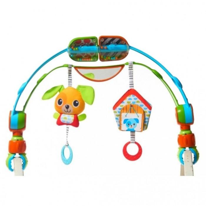 Tiny Love Двойная дуга на коляску Удивительные открытияДвойная дуга на коляску Удивительные открытияДвойная дуга на коляску Удивительные открытия от компании Tiny Love представляет собой полезное приспособление для прогулок. На них крепятся яркие разноцветные игрушки, от которых тянутся веревочки с грызунком, что очень удобно во время появления зубов. Также дугу можно толкать ножками, при этом она будет их мягко массировать. Игрушка изготовлена из прочного пластика, приятного на ощупь текстиля и резины. Ее яркий цвет сможет поднять малышу настроение даже в самый ненастный день.  Особенности:   Размер упаковки: 50,4 x 34,2 x 7,6 см Размер дуги: 50 x 31 x 7 см Вес: 950 г<br>