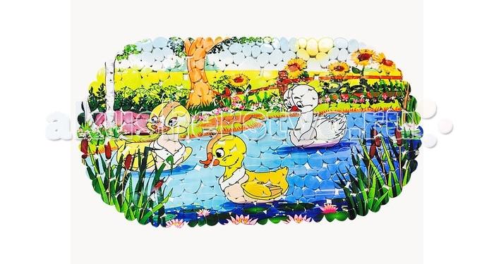 Коврики для купания Uviton противоскользящий Утята 69x39  коврик для ванной tatkraft spa серая галька противоскользящий 69 x 39 см