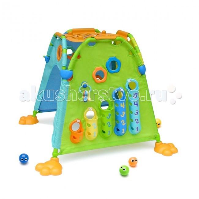 Yookidoo Интерактивная Палатка-домик 40111Интерактивная Палатка-домик 40111Интерактивная Палатка - домик от компании Yookidoo для развития детей от 1 года. Внутри палатки заключен большой функционал для развития ребенка. В набор входят звенящие шарики, которые малыш может опускать в один из кармашков с цифрами или весело спускать по «горке».   Кроме этого в комплект входя ключики, с помощью которых ребенок открывать –закрывать кармашки. Каждый кармашек обозначен цифрой. Ребенок сможет легко обучиться счету.   Например, он будет знать, что в кармашек № 3 можно опустить только три шарика. Также малыш может любоваться своим отражением в зеркале и играть с другими встроенными предметами.  Особенности: - Возраст от 12 мес. - Вес 4.400 кг - Размер 100*73*100 см<br>