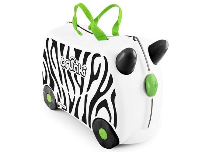 Trunki Детская каталка-чемодан Zebrа Zimba Зебра ЗимбаДетская каталка-чемодан Zebrа Zimba Зебра ЗимбаTrunki Zebra Zimba – это белоснежный чемоданчик с принтом - полоски как у зебры. Чемодан-каталка Trunki Zimba для настоящих путешественников и ценителей дикой природы! Zebra Zimba - верный друг и спутник ребенка в любой поездке и путешествии.   Особенности чемодана:  Перевозка и хранения игрушек и багажа; Веселое катание на чемоданчике; Отдых ребенка, когда родители просто катают его; Многофункциональный ручной буксировочный ремень; Ремни безопасности для плюшевого мишки; Две ручки для переноски; Секретные отсеки; Фиксаторы.  Особенности:  Объем: 18 л Выдерживает до 45 кг веса Размеры чемодана: 46 х 20,5 х 31 см Вес: 1,7 кг<br>