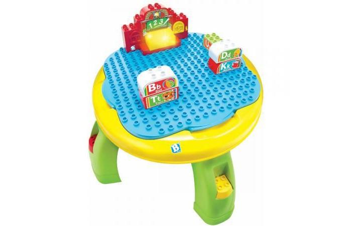Игровой центр B kids Развивающий столикРазвивающий столикB kids Развивающий столик 004626B  Развивающий столик от Bkids – не просто конструктор с отсеком для хранения, но еще и увлекательная интерактивная игра на запоминание английского алфавита.   Итак, у вас есть 13 блоков (на каждом из которых нарисовано две латинских буквы) и еще один большой блок со световыми и звуковыми эффектами в виде школы. Когда вы ставите блоки с буквами в школу, приятный голос произносит то, что указано на блоках. Кроме того, развивающий столик проигрывает мелодии и песни об алфавите.   В крышке столика есть также отсек для хранения деталей. Приятный момент: игрушка совместима с деталями популярных конструкторов других брендов.   Для работы вам потребуются 2 батарейки типа АА.   Размеры столика: около 29 см в высоту и 38 см – в ширину.   Рекомендовано для детей от 2 лет.<br>