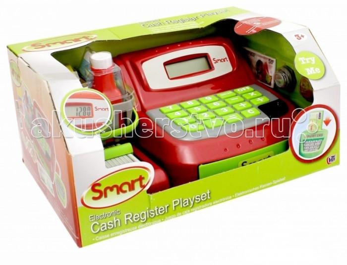 HTI Кассовый аппарат SmartКассовый аппарат SmartИгровой набор HTI Кассовый аппарат Smart со звуковыми эффектами позволит малышу напрямую соприкоснуться с миром торгово-потребительских отношений. Набор включает в себя кассовый аппарат, продукты питания (молоко, кофе, газированную воду, печенье, кетчуп), корзину для продуктов, банковскую карту и деньги (купюры и монеты).   Уникальный кассовый аппарат совсем как настоящий: он оснащен конвейерной лентой для передвижения продуктов, терминалом для работы с банковскими картами, монитором и отсеком для хранения денег, открывающимся при помощи специальной кнопки.   Также кассовый аппарат можно использовать как обычный калькулятор. С помощью этого набора ваш ребенок сможет научиться правильно вести себя в магазине и делать покупки. Порадуйте его таким замечательным подарком! Рекомендуется докупить 2 батарейки напряжением 1,5V типа AA (товар комплектуется демонстрационными).  Особенности:   Размеры:  14 x 28 x 19,5 см Вес: 0,8 кг<br>