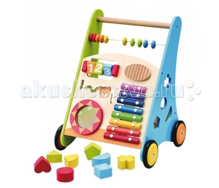 Ходунки Kids4kids Мои первые шагиМои первые шагиХодунки Kids4kids Мои первые шаги - многофункциональная развивающая игрушка, которая представляет собой одновременно ходунок и мультиактивный центр со встроенным набором для развития мелкой моторики, слуха и логики малыша.  Особенности: Помимо основного предназначения, ходунки-каталка имеют игровой комплекс, если малыш захочет немного отдохнуть после ходьбы, ему на помощь придут встроенные развивающие развлечения, такие как, ксилофон, барабан, окошко-солнышко для подглядывания, кубики с цифрами, счеты и сортер с восемью фигурками.  Ксилофон и барабан помогут развить у малыша слух и цветовое восприятие.  Прорезиненные колесики. Кубики с цифрами и сортер - мелкую моторику и логическое мышление.  Все фигурки можно хранить в самой каталке. Это позволит приучить малыша к аккуратности.  Такая насыщенная игра превосходно развивает воображение и логику, положительно сказывается на координации движений и зрительной координации,  тренирует память и внимание. Игрушка изготовлена из высококачественного экологически чистого МДФ, что очень важно при выборе детских товаров.<br>
