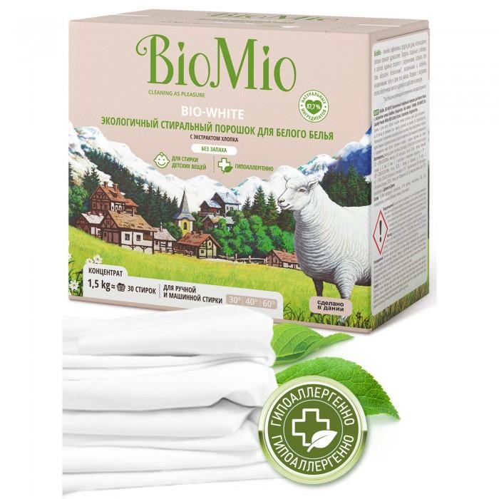 Детские моющие средства BioMio Экологичный стиральный порошок для белого белья без запаха 1500 г