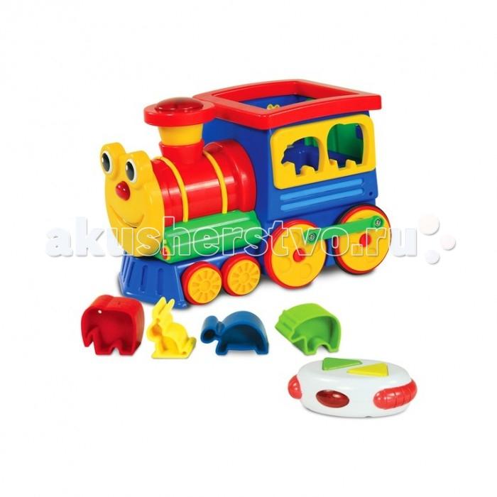 Развивающая игрушка Learning Journey Радиоуправляемый умный паровозикРадиоуправляемый умный паровозикLearning Journey Развивающая игрушка Радиоуправляемый умный паровозик станет замечательным другом вашему ребенку, ведь с новым паровозиком так весело и интересно! Яркий, невероятно дружелюбный дизайн будет радовать всегда, а звуковое сопровождение поднимает настроение. Паровозик будет хорошим подарком как девочке,так и мальчику! Им можно управлять при помощи пульта, что делает игру во много раз интереснее.  В комплекте также есть красивые формочки в виде животных. Умный паровозик улучшает координацию движений ребенка, тренирует его глазомер, а также стимулирует игровую деятельность, воображение и развивает слуховой навык.  Возраст: от 12 месяцев Комплект: паровозик, пульт д/у, 4 разноцветных формочки. Наличие батареек: входят в комплект. Тип батареек: 2 x AA / LR6 1.5V (пальчиковые). Эффекты: свет, звук.<br>