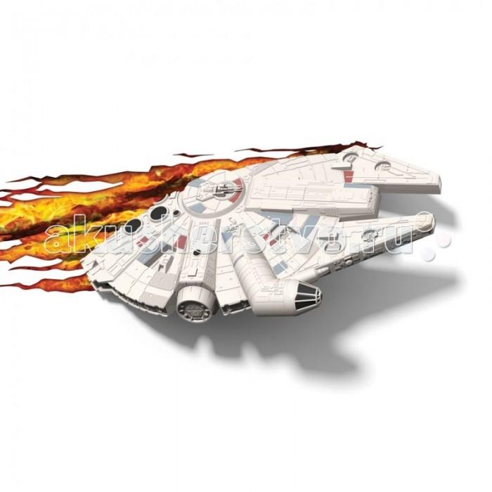 Светильник 3DlightFX Пробивной 3D StarWars (Звёздные Войны) Millennium Falcon (Тысячелетний сокол)Пробивной 3D StarWars (Звёздные Войны) Millennium Falcon (Тысячелетний сокол)Пробивной 3D светильник StarWars (Звёздные Войны) Millennium Falcon (Тысячелетний сокол). Безопасный: без проводов, работает от батареек (3хАА, не входят в комплект); Не нагревается: всегда можно дотронуться до изделия; Реалистичный:3D наклейка-имитация выхода из стены в комплекте; Фантастический: выглядит превосходно в любое время суток; Удобный: простая установка (автоматическое выключение через полчаса непрерывной работы). Товар предназначен для детей старше 3 лет. ВНИМАНИЕ! Содержит мелкие детали, использовать под непосредственным наблюдением взрослых.   Особенности:   Размеры: 40.1 х 23 х 9.3 см Вес: 0,73 кг<br>